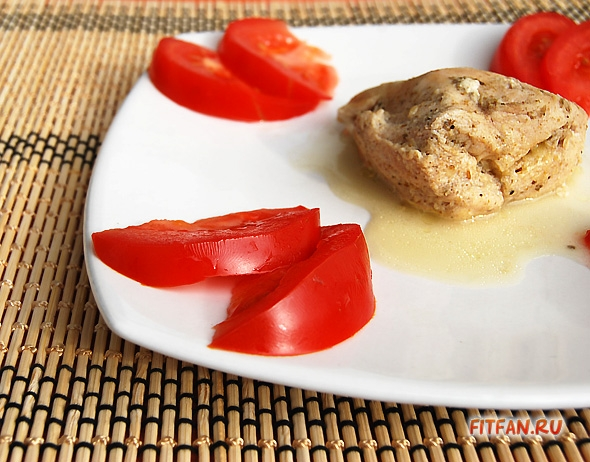 Запеченное куриное филе с сыром и грибами